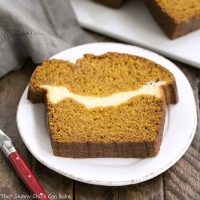 Cream Cheese Filled Pumpkin Bread A moist, delicious pumpkin loaf with a ribbon of cream cheese in the middle!