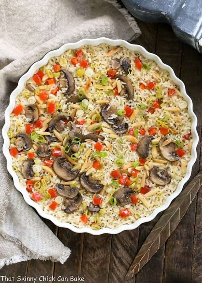 Overhead view of Italian Rice Pilaf in a round casserole