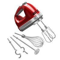 KitchenAid KHM926CA 9-Speed Digital Hand Mixer with Turbo Beater II Accessories and Pro Whisk - Candy Apple Red