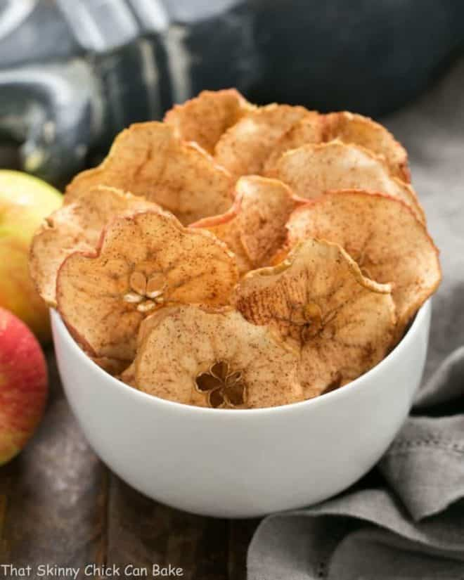 Cinnamon Apple Chips in a white bowl