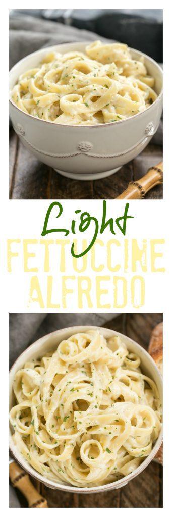 Light Fettuccine Alfredo pinterest collage