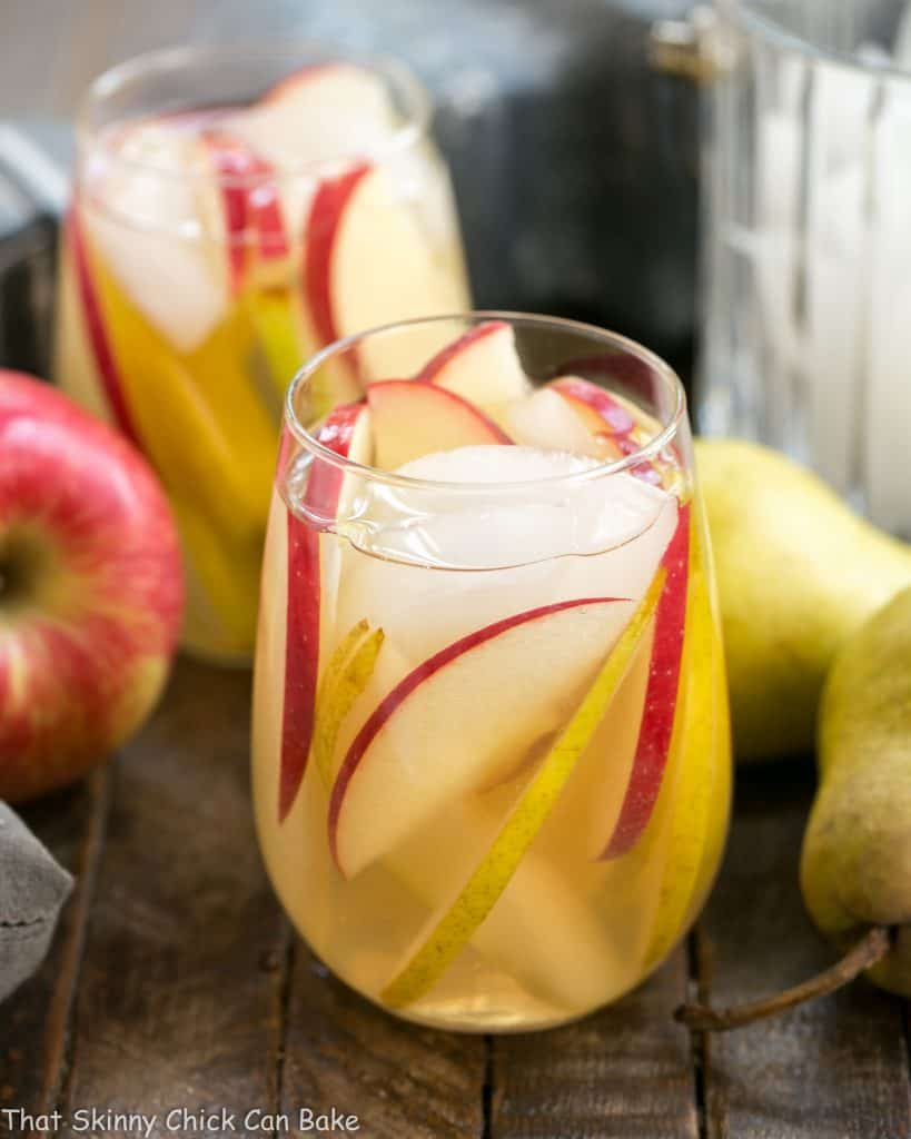 Apple Cider Sangria in two cocktail glasses