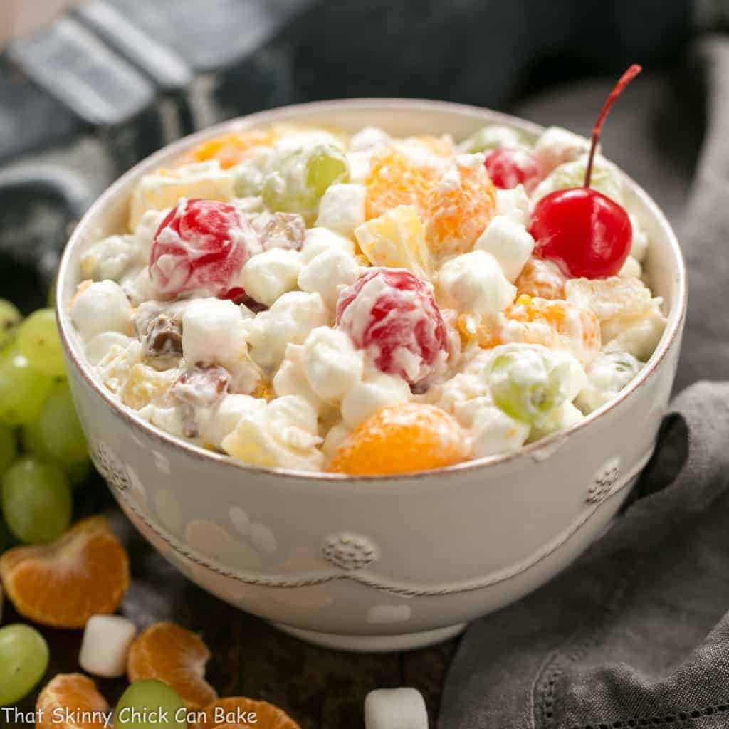 The Best Ambrosia Salad {No Cool Whip}   A dreamy fruit and coconut salad with marshmallows and pecans.