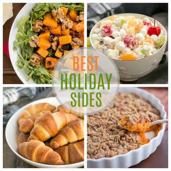 Holiday Side Dishes  collage with 4 photos and text in the center