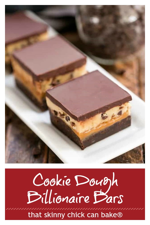 Cookie Dough Billionaire Bars photo and text collage