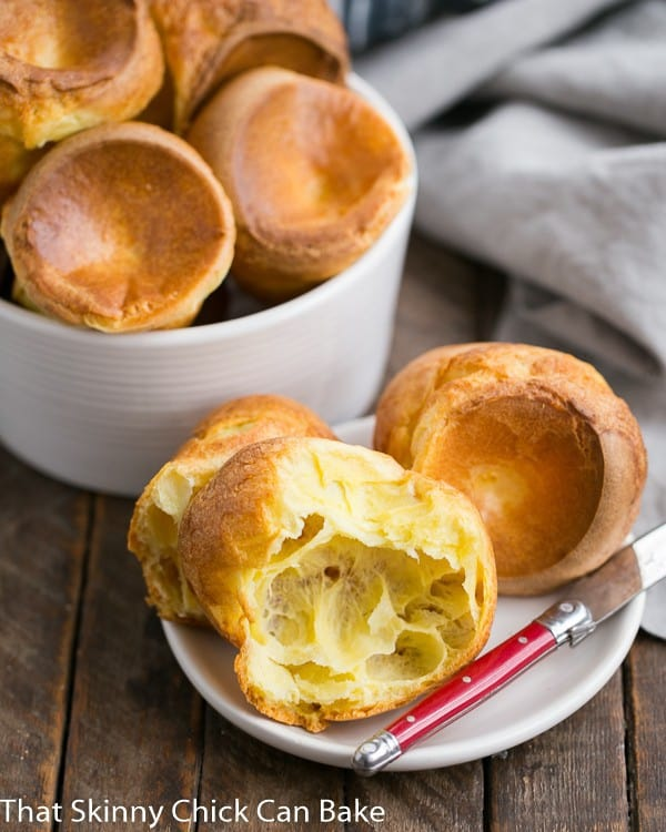 Perfect Popovers  on a small white plate and in a serving dish