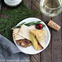 overhead view of cranberry brie slice