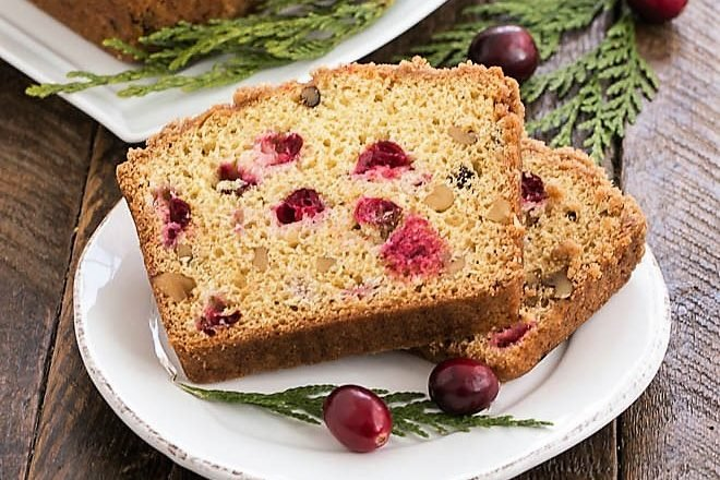 Cranberry Nut Bread slices on a white plate