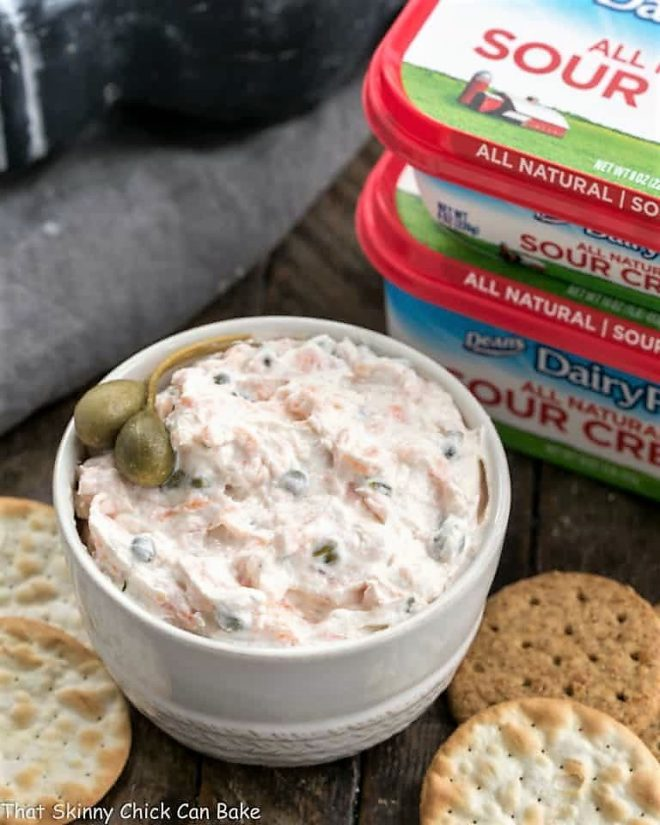 holiday party dip made with smoked salmon, and capers