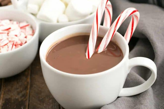 Easy Peppermint Hot Chocolate | Rich, silky cocoa with a peppermint twist!