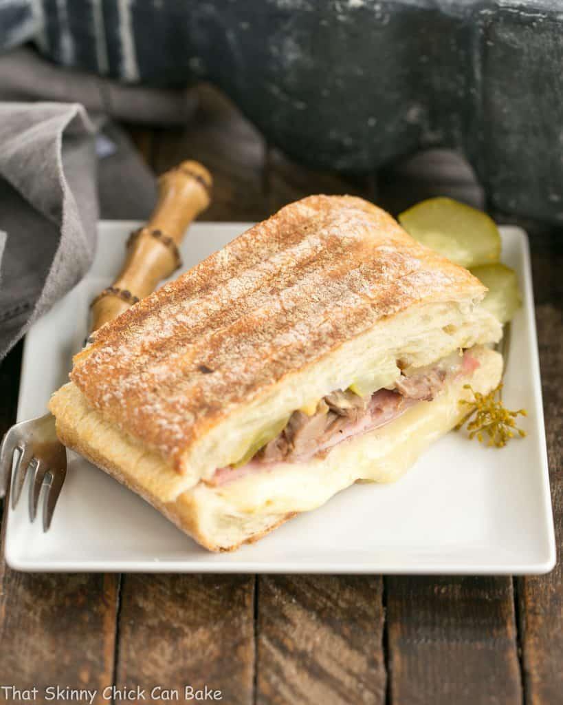 Ciabatta Cubano Sandwich on a square white plate