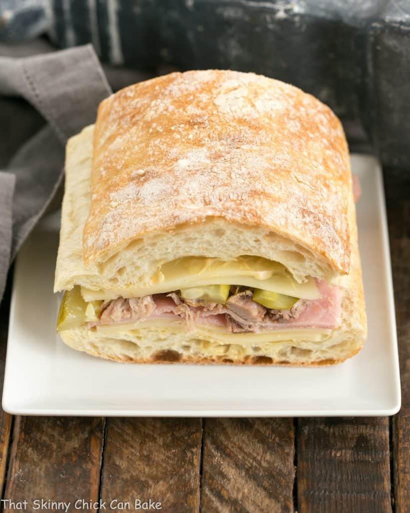 Side view of Ciabatta Cubano Sandwich Recipe before cooking