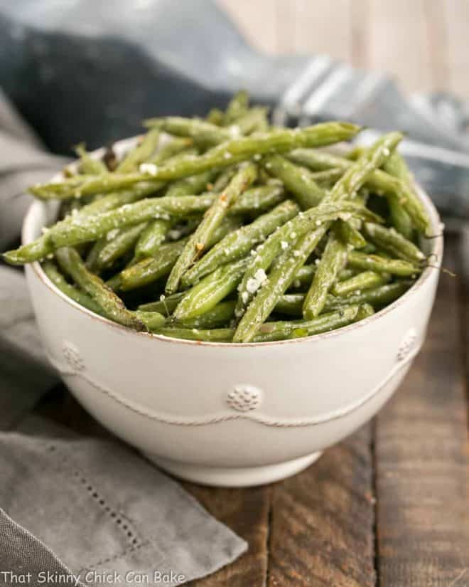 Garlic Parmesan Roasted Green Beans in a white bowl