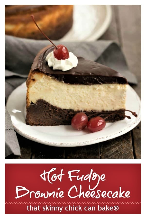 Hot fudge brownie cheesecake on a white plate above a red box with white text