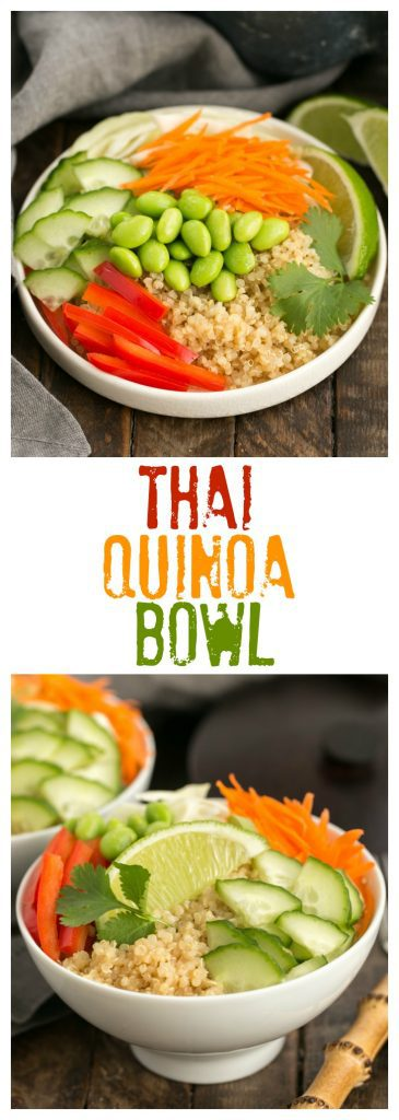 Collage of Thai Quinoa Bowl with two photos and one text box