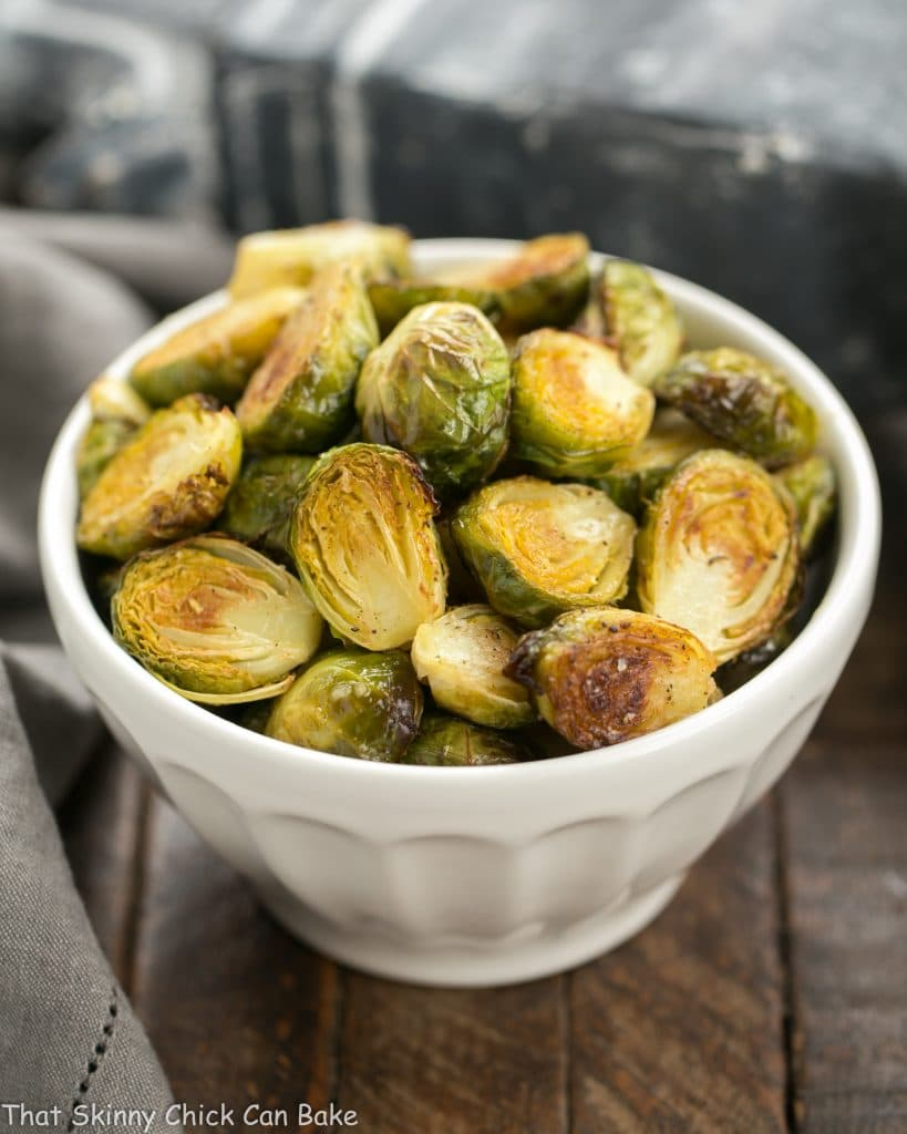 Honey Mustard Roasted Brussels Sprouts in white bowl