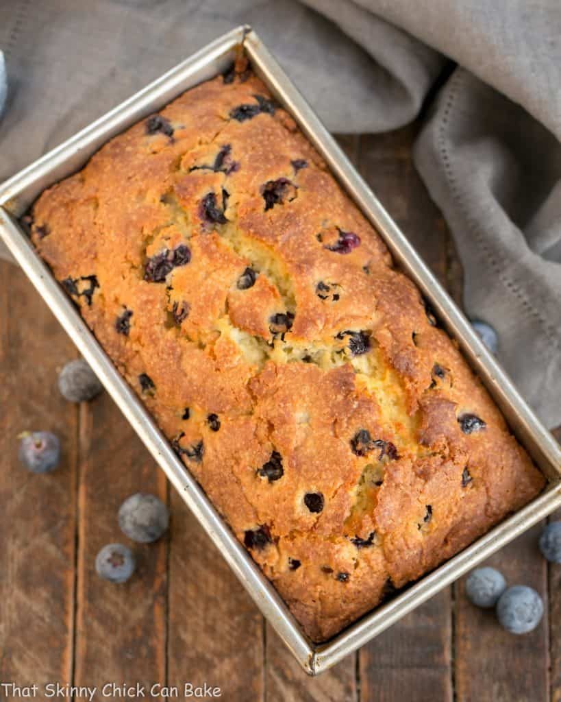 Overhead view of Lemon Blueberry Muffin Bread in a loaf pan