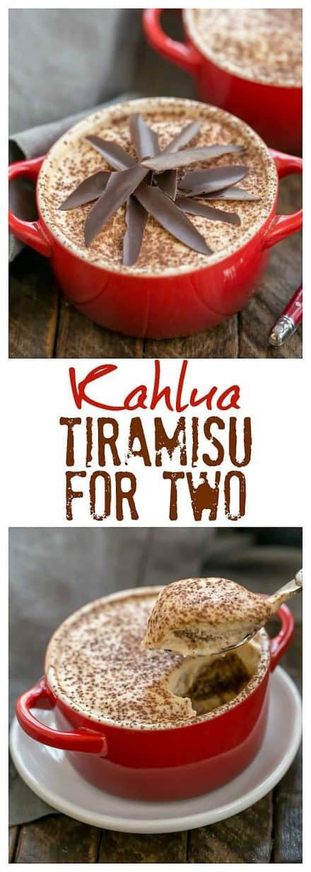 Kahlua Tiramisu for Two text and photo collage for pinterest