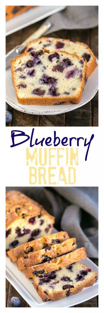 Blueberry muffin bread collage with two photos and a text box