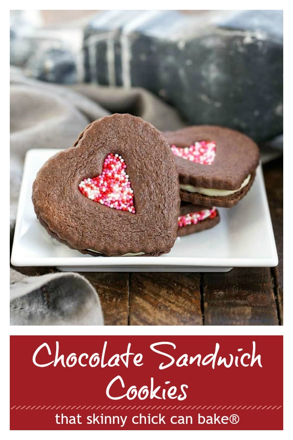 Chocolate Sandwich Cookies photo and text collage for Pinterest