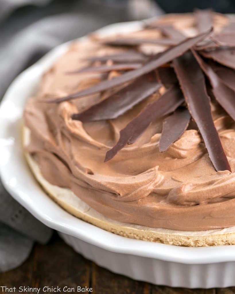 Chocolate Velvet Pie in pie plate