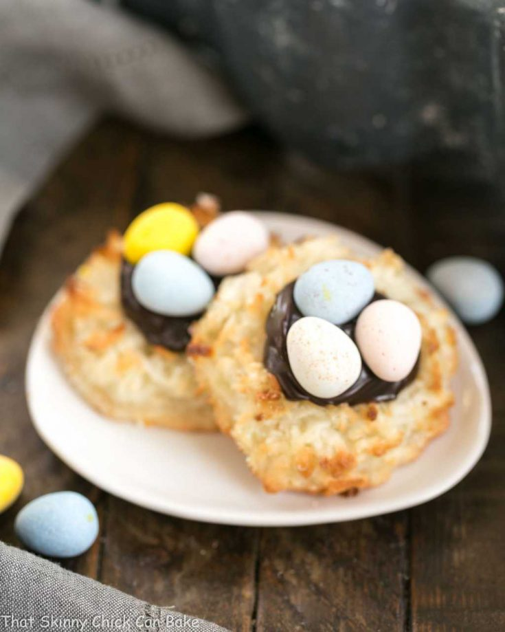 Coconut Macaroon Easter Nests on a small plate