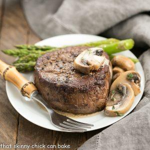 Mushroom Topped Pepper Steak for Two