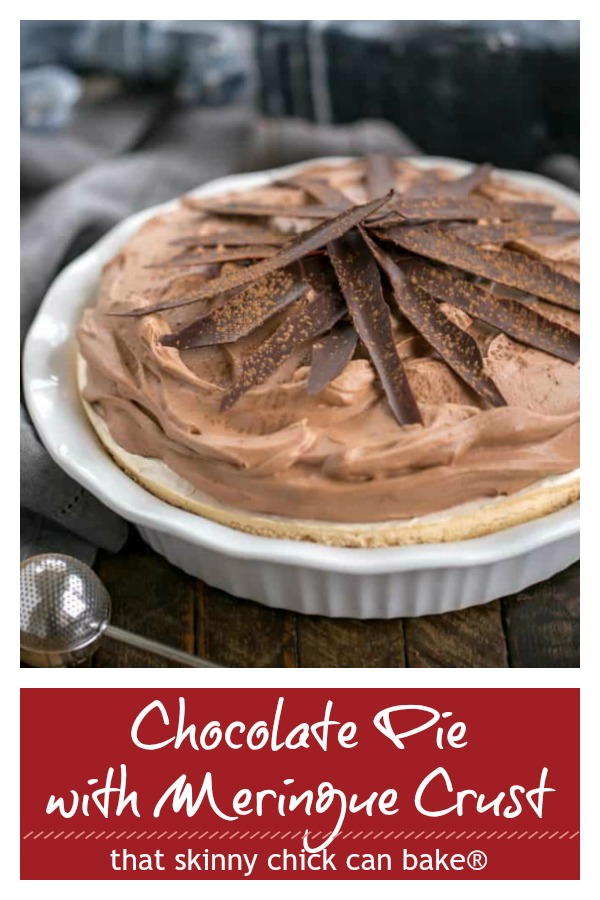 Chocolate Pie with a meringue crust photo and text collage