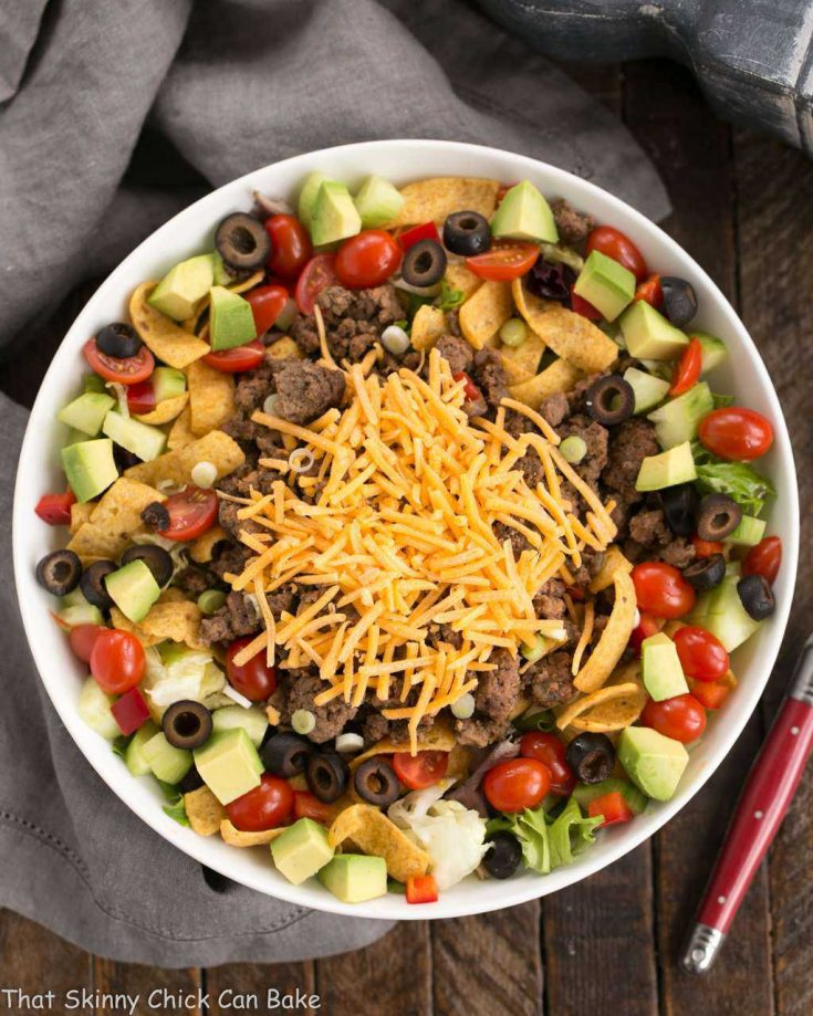 Beef Taco Salad with Salsa Dressing