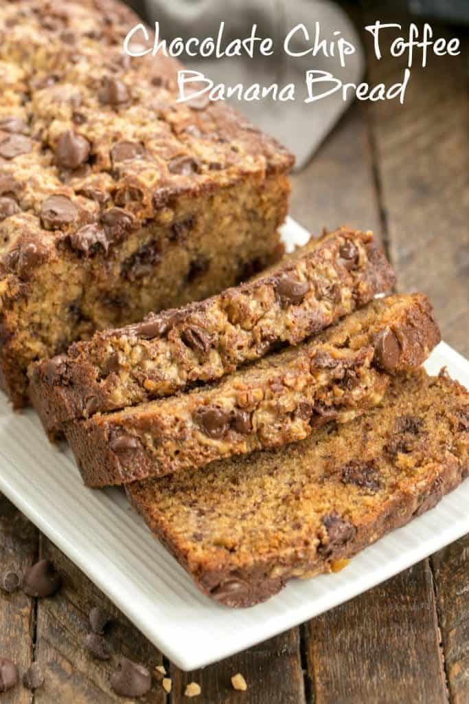 Chocolate Chip Toffee Banana Bread - the classic quick bread on steroids!!!