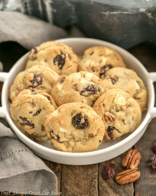 Chewy Cherry Chocolate Chunk Cookies in a round terrine