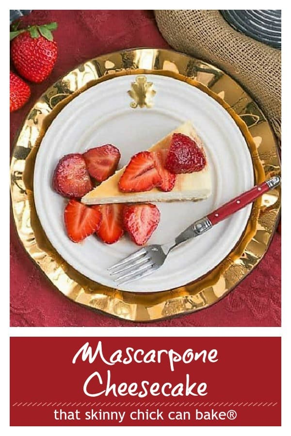 Mascarpone Cheesecake with Balsamic Strawberries pinterest photo and text collage
