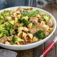 Sun-dried Tomato and Sausage Pasta in a serving bowl