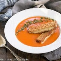 Thyme Kissed Tomato Soup in a white basket weave bowl
