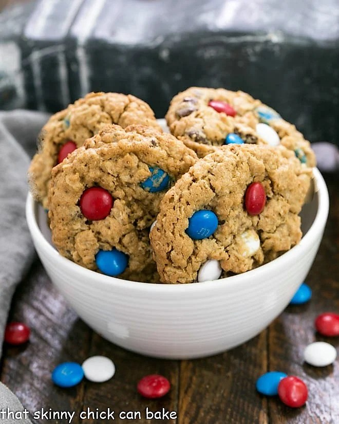 Patriotic Monster Cookies in a white ceramic bowl