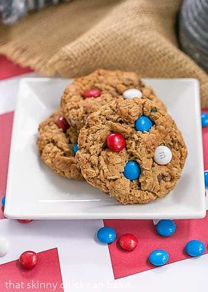 Patriotic Monster Cookies on a small white plate