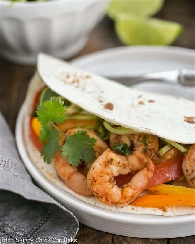 Spicy shrimp Fajitas closeup of filling in a tortilla