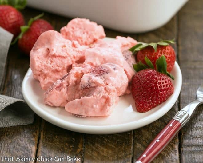 Strawberry Angel Food Dessert - a no bake dessert with angel food cake cubes, strawberries and cream!