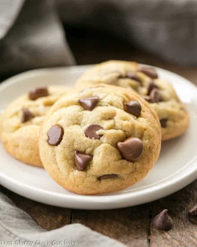 Double Chocolate Chip Cookies on a small white plate