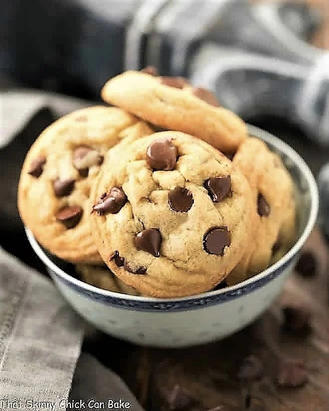 Double Chocolate Chip Cookies in a blue and white bowl