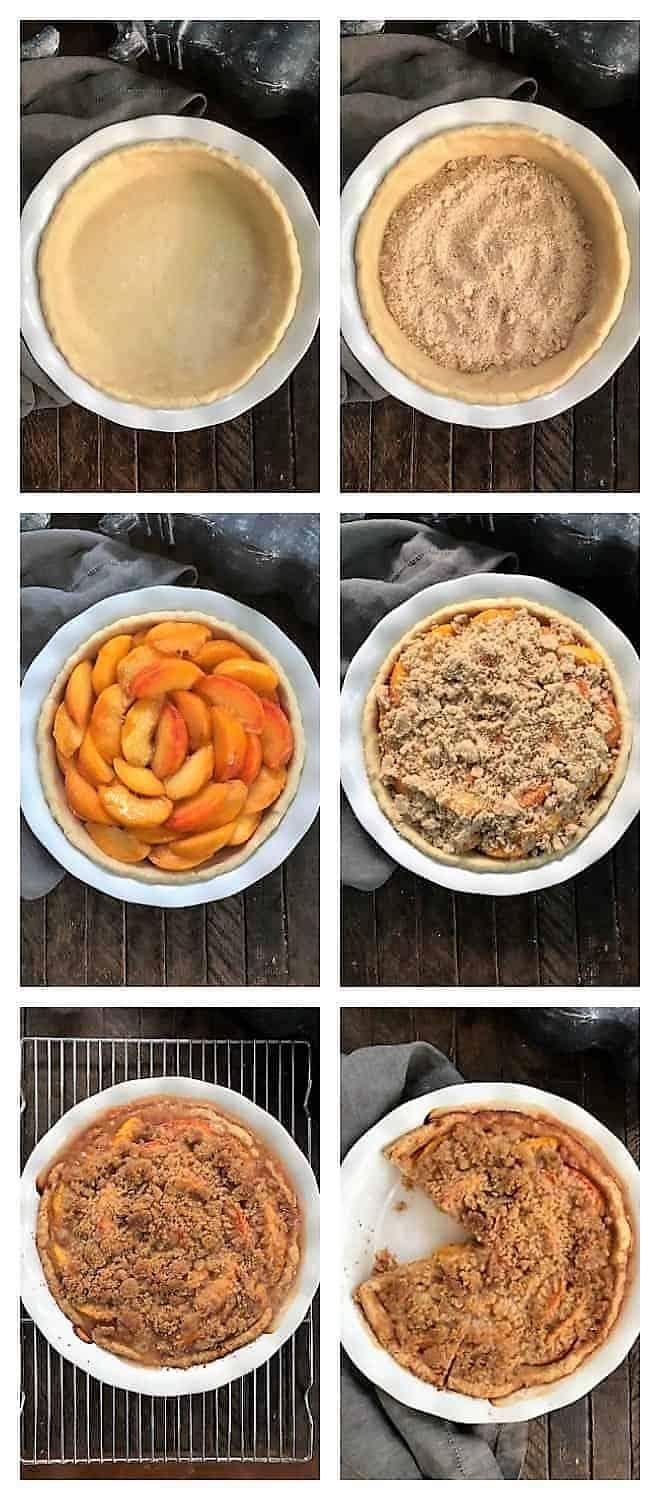 Peach Crumb Pie Process Shots