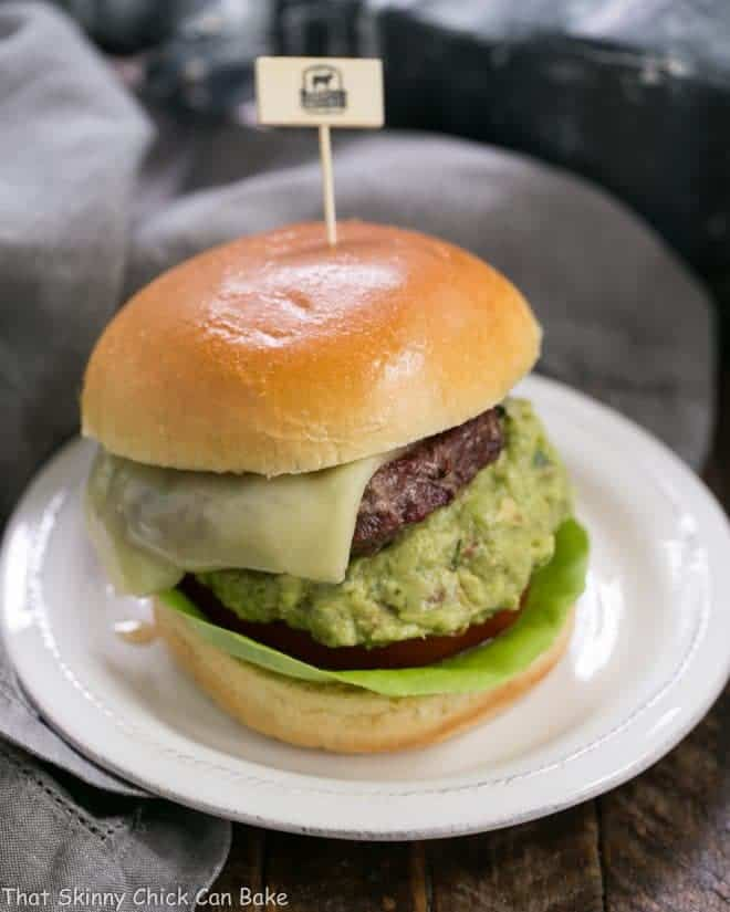 Grilled Guacamole Burger on a white plate