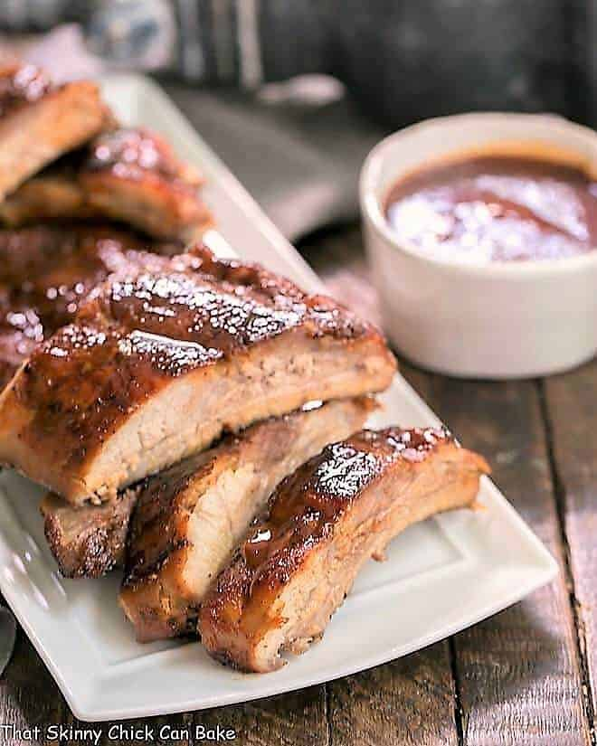 Instant Pot Baby Back Ribs on a white serving tray