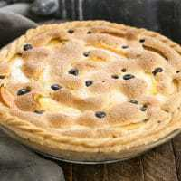 Peach Blueberry Custard Pie - A one crust peach pie speckled with blueberries