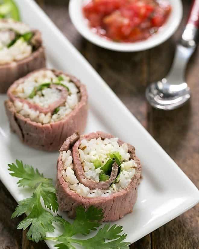 Beefshi - Beef Texan Rolls on a narrow white tray
