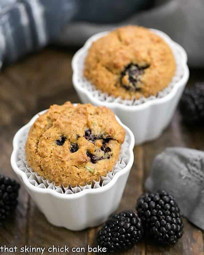 Blackberry Bran Muffins in white ceramic ramekins