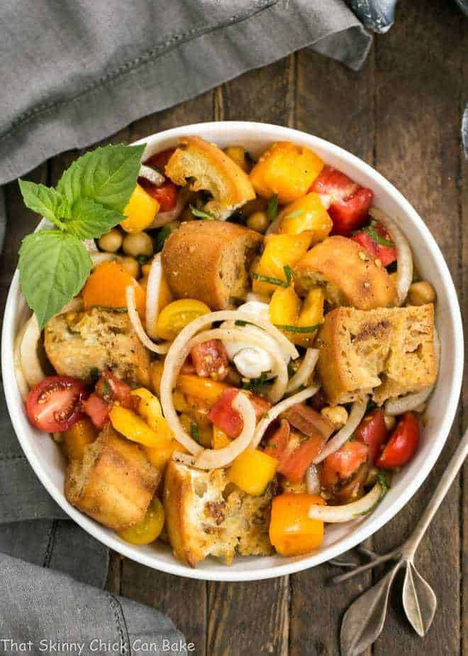 Summer Tomato and Burrata Panzanella Salad