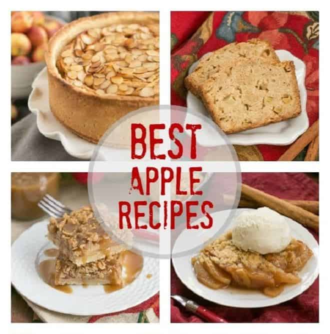 Collage of 4 apple recipes with a text box