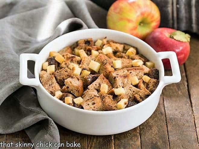 Gluten Free Apple Cinnamon Bread Pudding in a small casserole dish