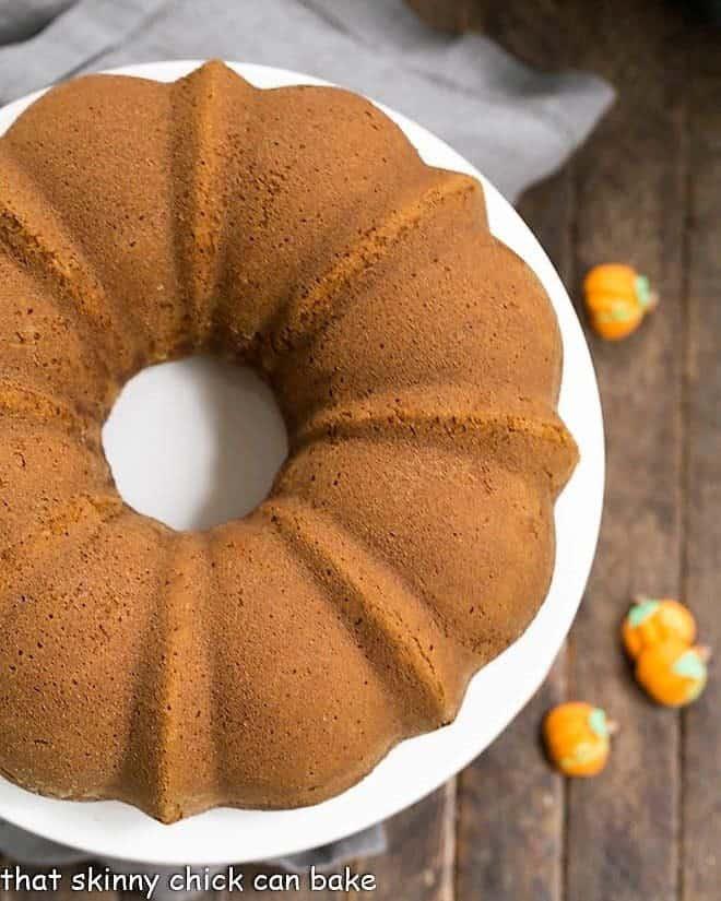 Pumpkin Spice Bundt Cake on a white cake plate